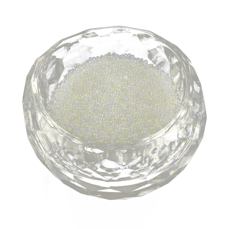 Translucence DIY 3D Nail Art Decoration Mini Glass Beads, Tiny Caviar Nail Beads, Ivory, 0.6~0.8mm