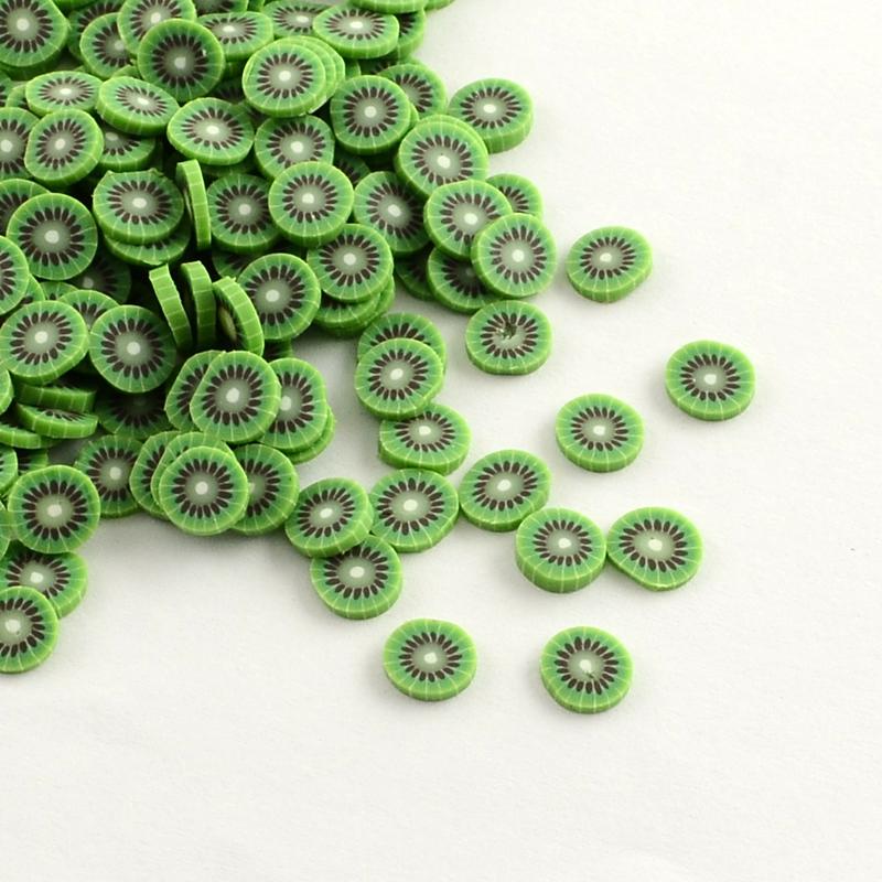 Handmade Polymer Clay Nail Art Decoration Accessories, Fruit, LawnGreen, 4~6x5~6x0.2~1mm