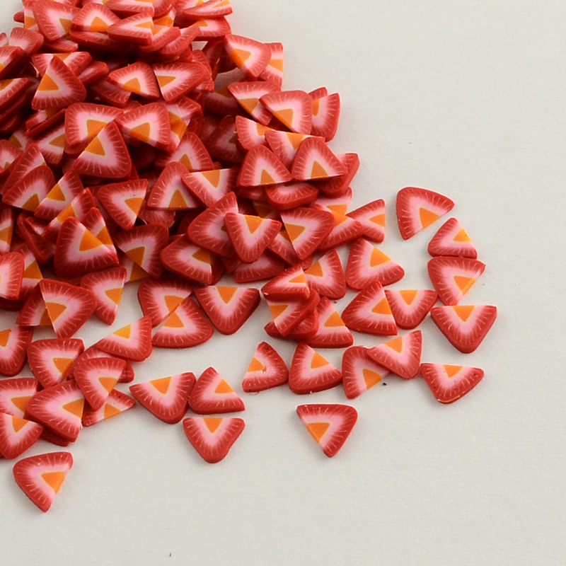 Handmade Polymer Clay Nail Art Decoration Accessories, Fruit, Red, 4~6x5~6x0.2~1mm