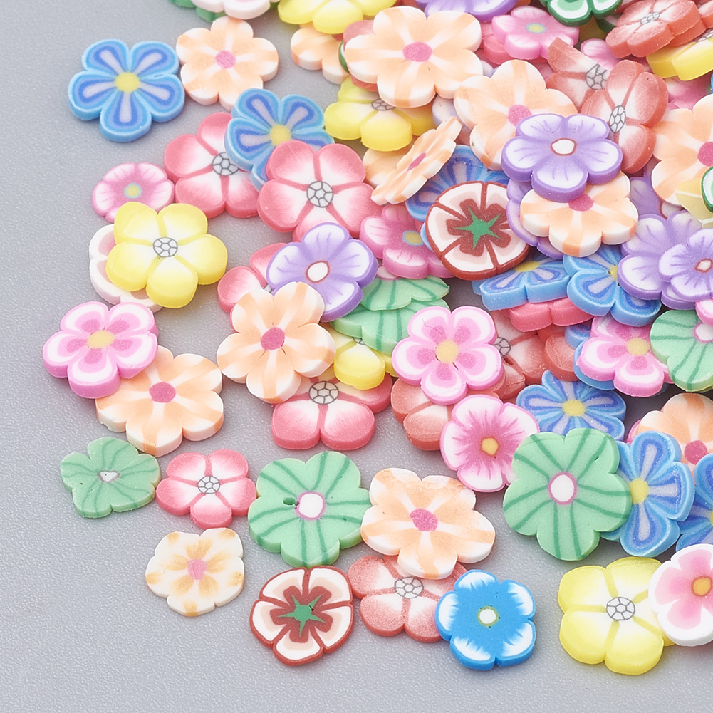 Handmade Polymer Clay Nail Art Decoration, Fashion Nail Care, No Hole, Flower, Mixed Color, 4~7x3~7.5x0.5~3mm