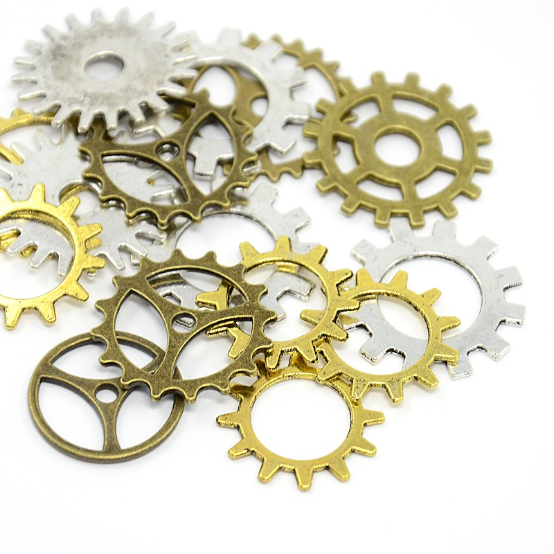 Metal Tibetan Style Alloy Steampunk Gear Charms Connectors Cog Pendants, Lead Free, Mixed Color, 19~25x1~1.5mm, Hole: 2~14.5mm