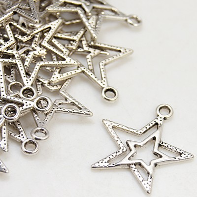 Tibetan Style Alloy Pendant, Lead Free and Cadmium Free, Antique Silver, Star, about 23mm long, 20.5mm wide, 2mm thick, hole: 1.5mm