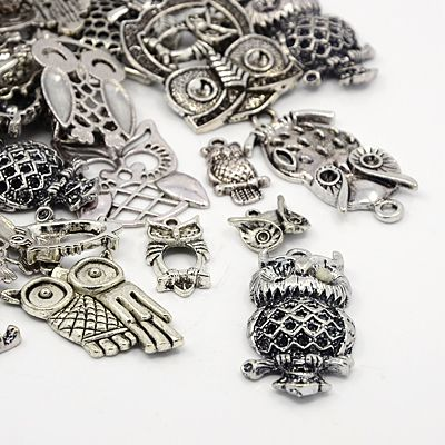 Tibetan Style Alloy Pendants, Owl, Mixed Style, Halloween, Antique Silver, 14.5~57x10.5~35.5x2~6mm, Fit for 1.5~4.5mm Rhinestone, Hole: 1.5~3mm