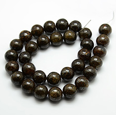 Round Natural Bronzite Beads Strands, Coffee, 6mm, Hole: 1mm; about 63pcs/strand, 15.3