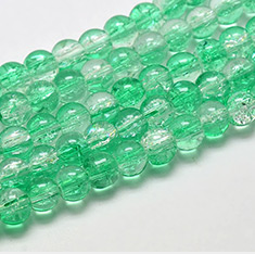 Two Tone Crackle Glass Beads Strands, Grade AA, Round, SpringGreen, 6mm, Hole: 1mm; about 146pcs/strand, 30.7
