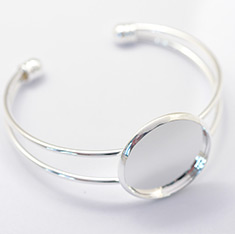 Brass Cuff Bangle Making, Blank Bangle Base, Silver Color Plated, Tray: 25mm; 61mm