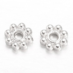 Flower Alloy Spacer Beads, Silver Color Plated, 5x1.5mm, Hole: 1mm
