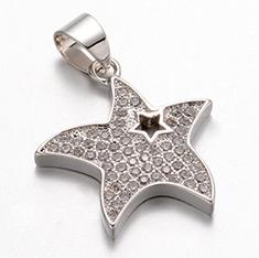 Starfish Brass Micro Pave Cubic Zirconia Pendants, Platinum, 21x19.5x2.5mm, Hole: 5x4mm