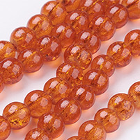 Spray Painted Crackle Glass Beads Strands, Round, DarkOrange, 6mm; Hole: 1.3~1.6mm; about 133pcs/strand, 31.4 (UK-CCG-Q001-6mm-09-K)