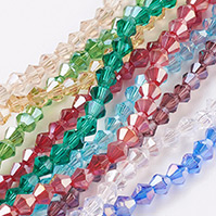 Glass Beads Strands, AB Color Plated, Faceted, Bicone, Mixed Color, 4x4mm, Hole: 1mm; about 98~100pcs/strand