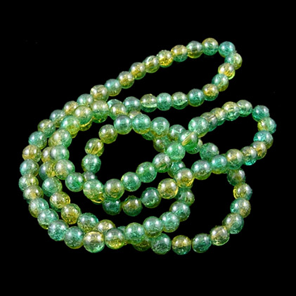 Crackle Glass Beads Strands, Round, Yellow, 10mm, Hole: 1~1.5mm, 34 (86.36cm); about: 89pcs/Strand (UK-GGC10mm032Y-L-K)