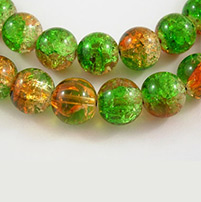 Crackle Glass Beads Strands, Round, Green, 8mm, Hole: 1mm, 31~32 (78.74~81.28cm); about: 106pcs/Strand (UK-GGC8MM015-K)