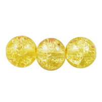 Crackle Glass Beads Strands, Round, Sold by Strands, LightYellow, 8mm, Hole: 2mm; about 105pcs/strand, 31 (UK-GGC8mmY-A16-K)