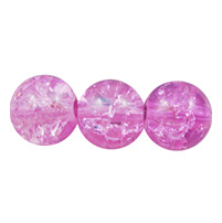 Crackle Glass Beads Strands, Round, Sold by Strands, Plum, 8mm, Hole: 2mm; about 105pcs/strand, 31 (UK-GGC8mmY-A27-K)