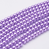 Glass Pearl Beads Strands, Pearlized, Round, DarkOrchid, 6mm, Hole: 1mm; about 140pcs/strand, 32