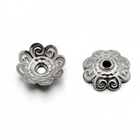 304 Stainless Steel Flower Bead Caps, Stainless Steel Color, 11x3mm, Hole: 1.5mm