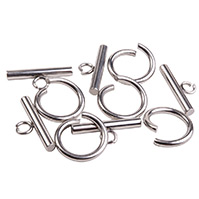 304 Stainless Steel Toggle Clasps, Stainless Steel Color, 15x2mm, Hole: 4mm