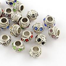 Metal Alloy Rhinestone European Beads